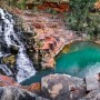 Fortescue falls and pool - panoramic, sunrise.